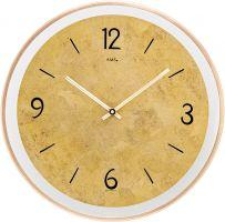 Nástěnné hodiny kulaté ams 9627 zlatá - mosaz