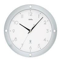 Nástěnné hodiny rádiem řízený čas ams 5500 stříbrná