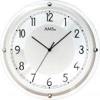 Nástěnné hodiny velké rádiem řízený čas ams 5542 stříbrná