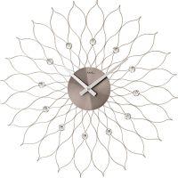 Nástěnné hodiny velké ams 9608 stříbrná motiv sluníčko květina