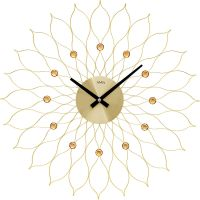 Nástěnné hodiny velké ams 9609 zlatá motiv sluníčko květina