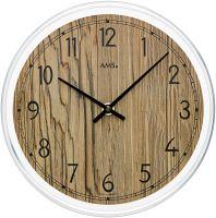 Nástěnné hodiny velké, kulaté ams 9632 hnědá ořech