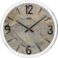 Nástěnné hodiny velké, kulaté ams 9633 přírodní kámen šedá