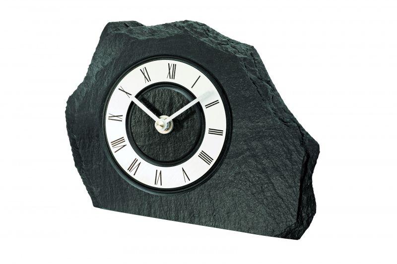 Stolní hodiny quartzové ams 1104 břidlice stříbrná