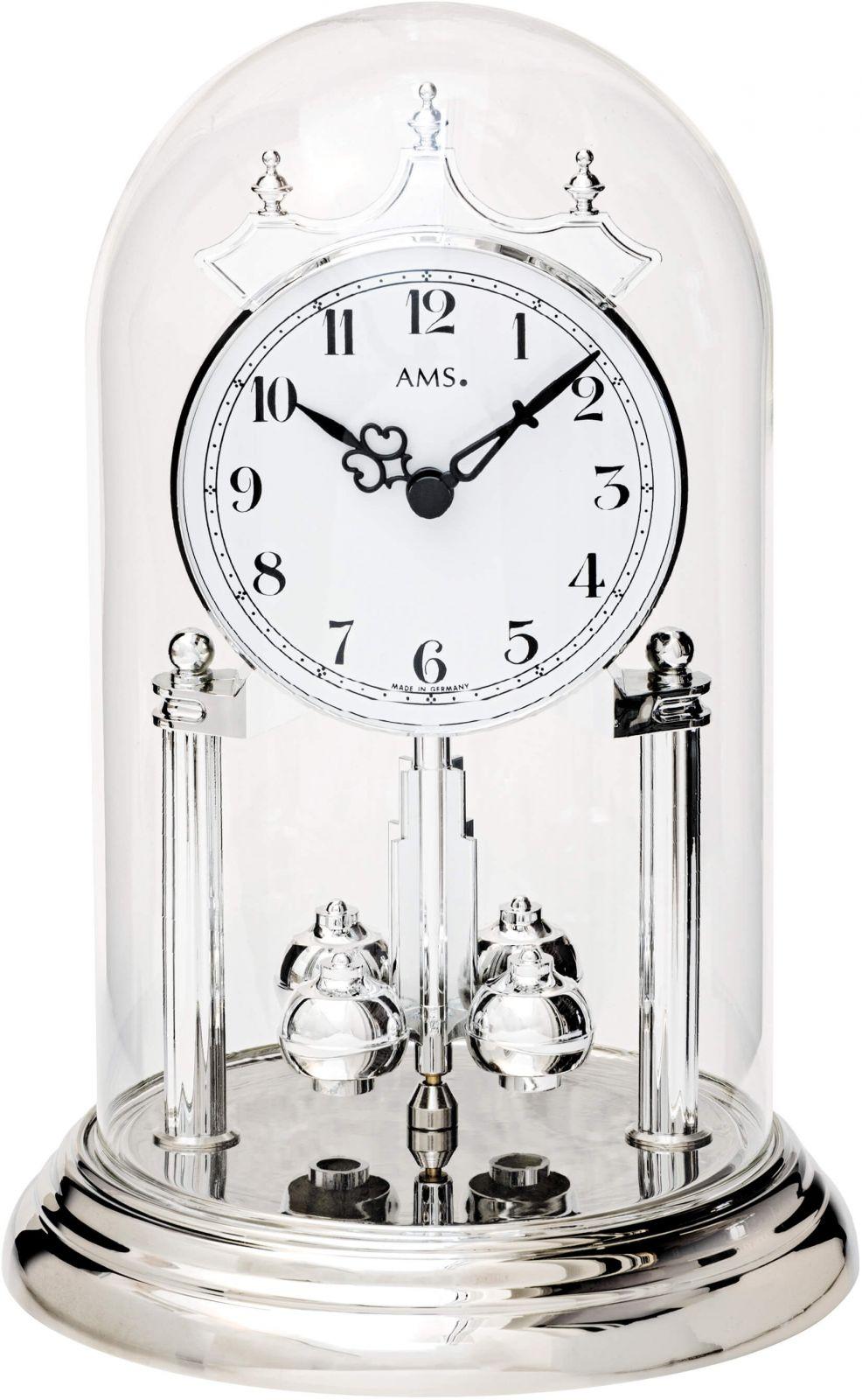 Stolní hodiny ročky ams 1206 stříbrná