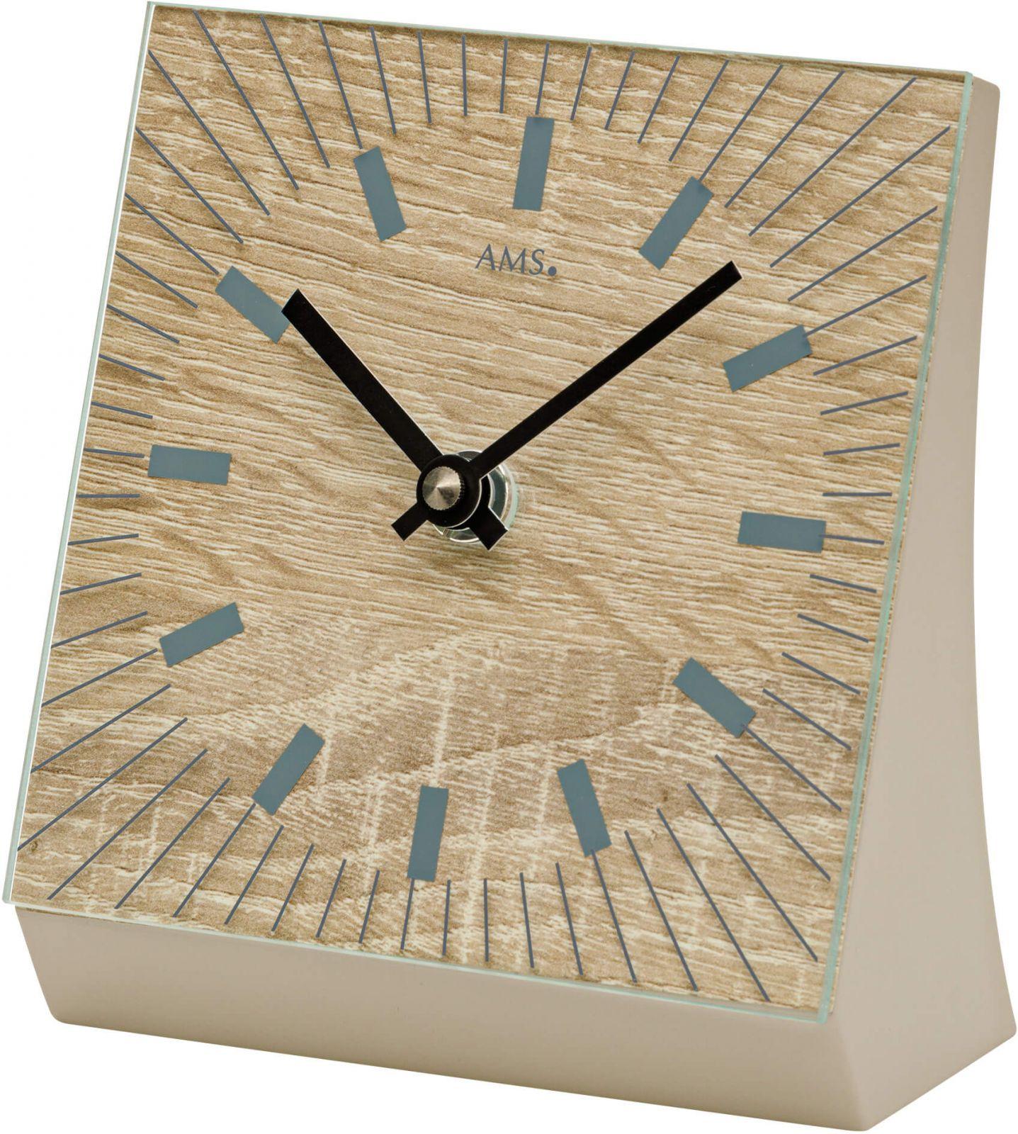 Stolní hodiny quartzové ams 1155 světlá hnědá