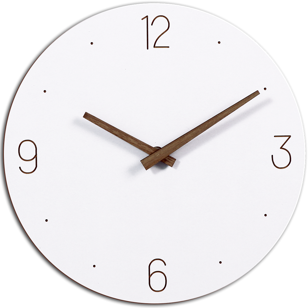 Nástěnné hodiny na zeď kulaté bílá dřevo