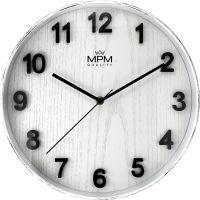 Nástěnné plastové hodiny PRIM Beta evokující vzhled starých ošoupaných hodin s číselníkem ve vzoru bílého dřeva E01.4051