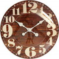 Dřevěné hodiny ve western stylu mají nepřehlédnutelné číslice. Dominatou hodin je vypouklé sklo, které jim dodává nádech luxusu E01.4058