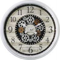 Tyto plastové hodiny v retro stylu s motivem dřeva jsou originální především díky svým funkčním ozubeným kolečkám, které se společně točí E01.4057