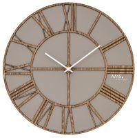 Designové nástěnné hodiny 9635 AMS 40cm šedá hnědá