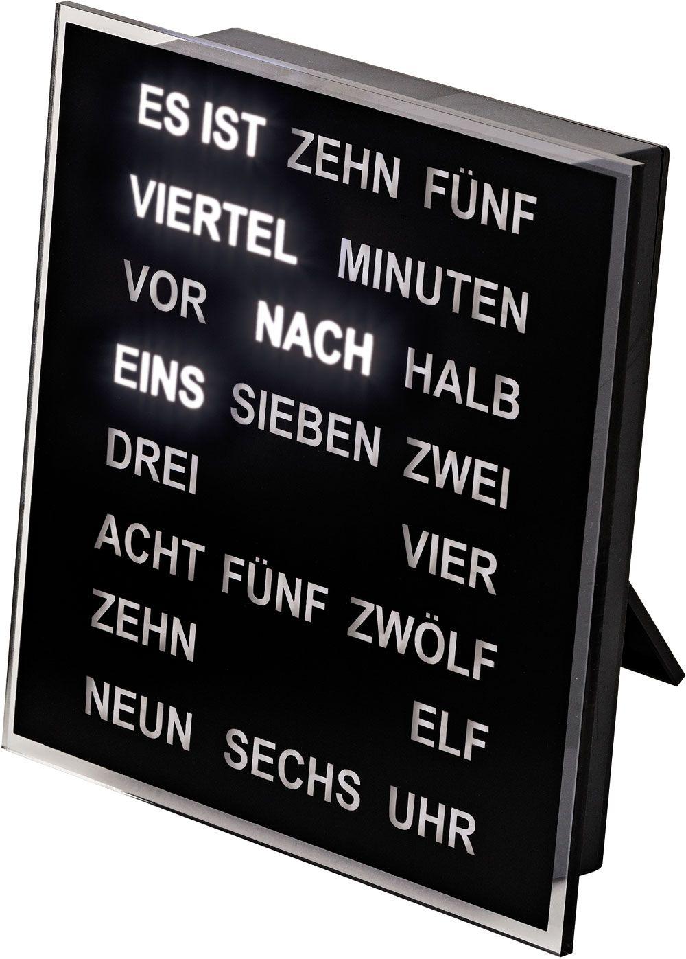 Quartzové stolní slovní hodiny, kovová základna, LED akrylový číselník, rozměr 20x20x4cm