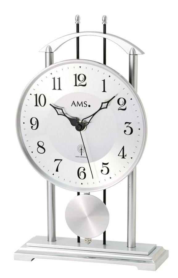 Stolní hodiny kyvadlové ams 5192 stříbrná barva