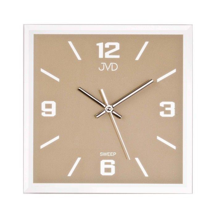 Nástěnné hodiny JVD Skleněné hodiny čtverec světlá hnědá