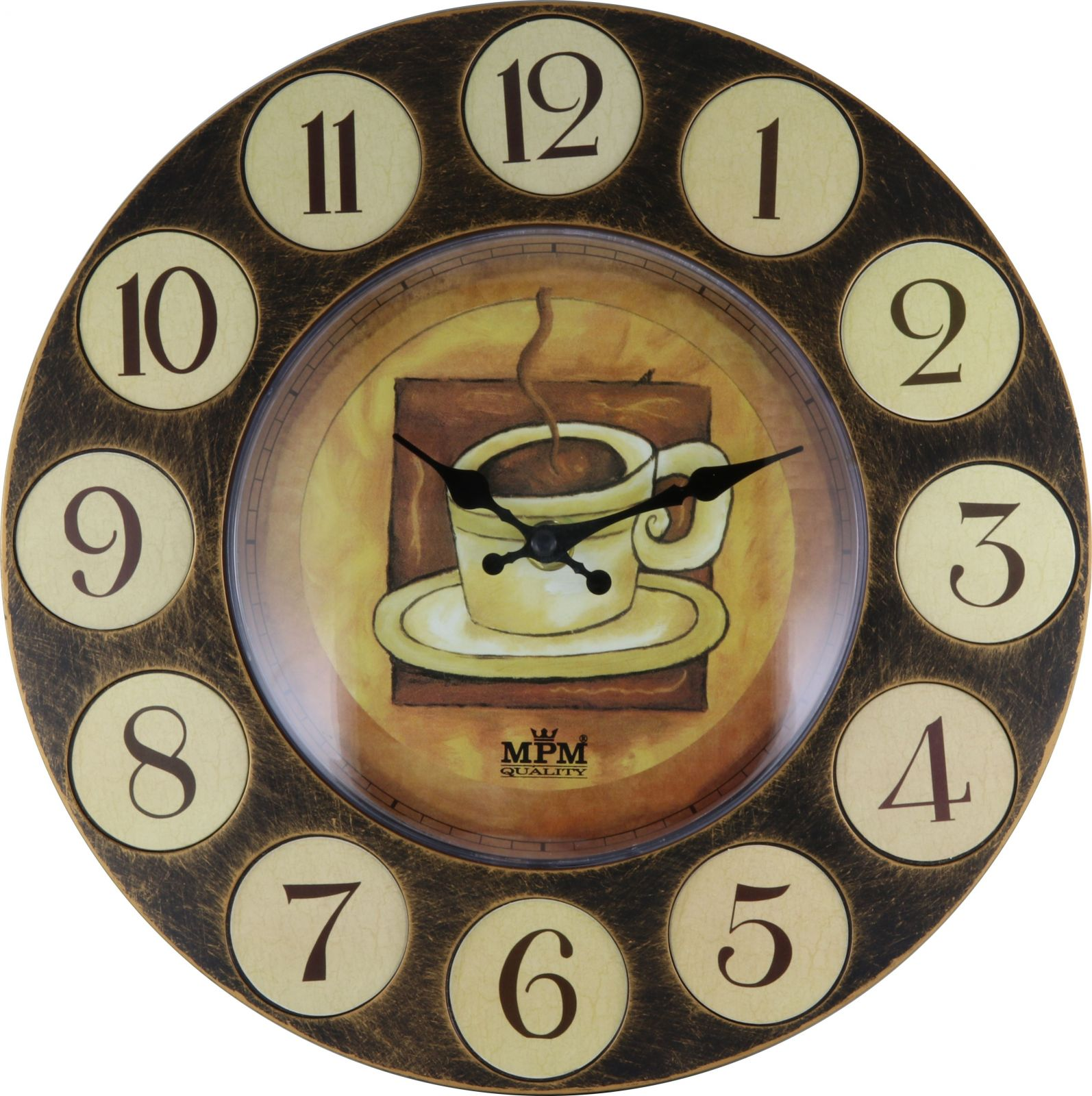 Plastové nástěnné hodiny retro styl E01.3694.01406 52 - hnědá tmavá