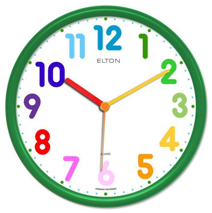 Dětské hodiny nástěnné kulaté plastové barevné s německým strojkem netikají, červená, modrá, zelená, žlutá, oranžová dětské hodiny zelená