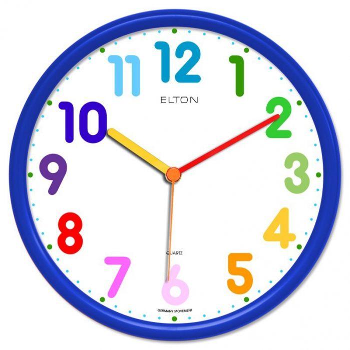 Dětské hodiny nástěnné kulaté plastové barevné s německým strojkem netikají, červená, modrá, zelená, žlutá, oranžová dětské hodiny tmavá modrá