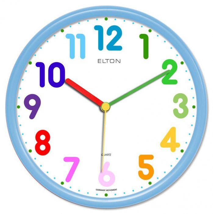 Dětské hodiny nástěnné kulaté plastové barevné s německým strojkem netikají, červená, modrá, zelená, žlutá, oranžová dětské hodiny světlá modrá