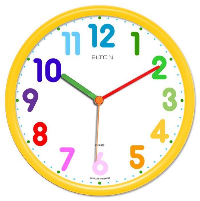Dětské hodiny nástěnné kulaté plastové barevné s německým strojkem netikají, červená, modrá, zelená, žlutá, oranžová dětské hodiny žlutá