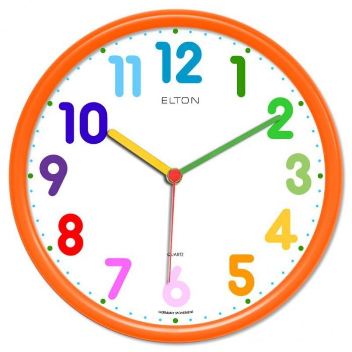 Dětské hodiny nástěnné kulaté plastové barevné s německým strojkem netikají, červená, modrá, zelená, žlutá, oranžová dětské hodiny oranžová