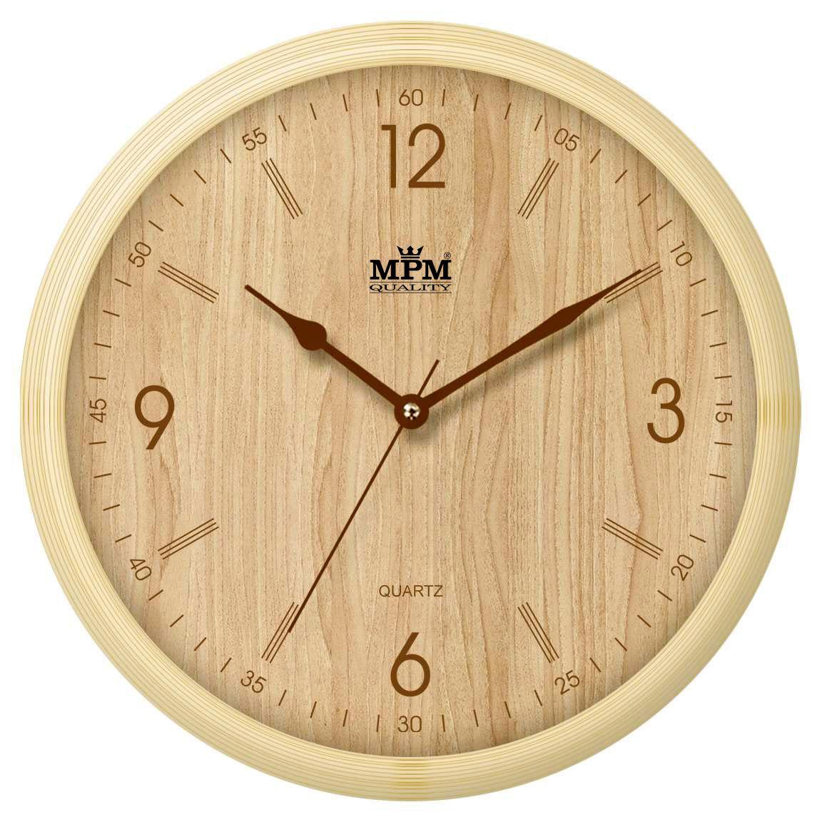 Nástěnné hodiny na zeď, kulaté nástěnné hodiny imitace dřeva