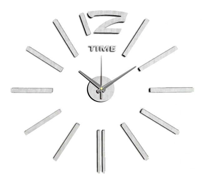 Nalepovací nástěnné hodiny ve stříbrném provedení..0561
