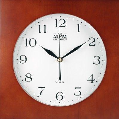 Hodiny nástěnné dřevěné čtvercové s kulatým ciferníkem - 2 varianty, hodiny na stěnu HPW997-1 - tmavá barva SKLADEM
