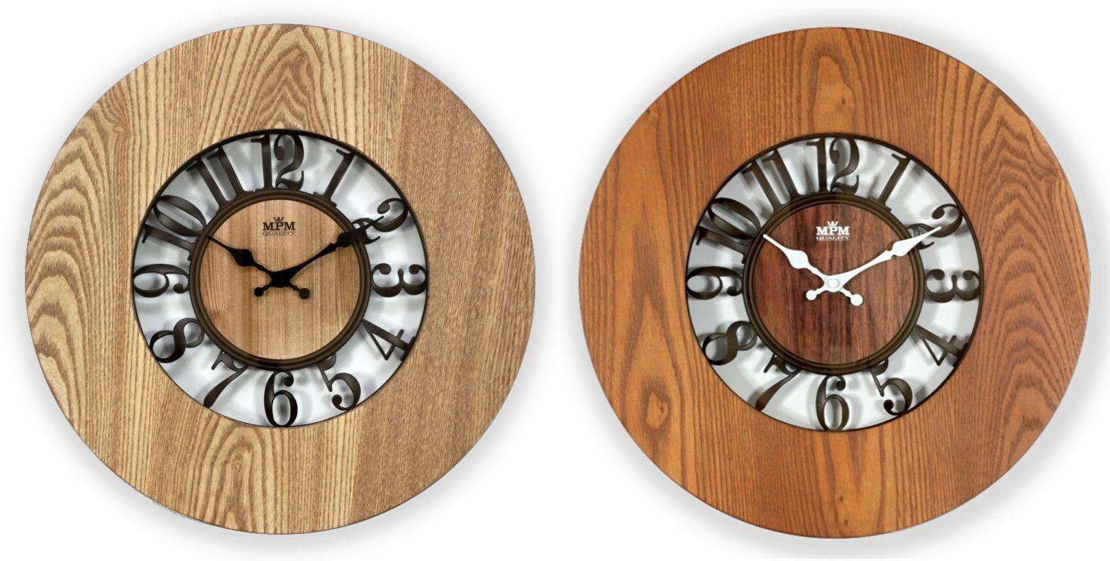 Velké nástěnné designové hodiny E07.3665.01277 50 - hnědá