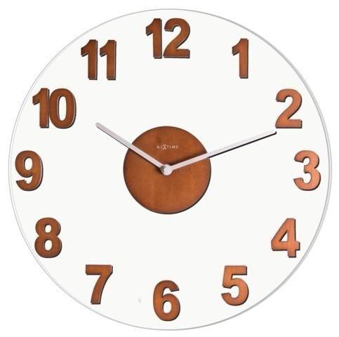 NeXtime Designové nástěnné hodiny skleněné s dřevěnými prvky Nextime 2974br