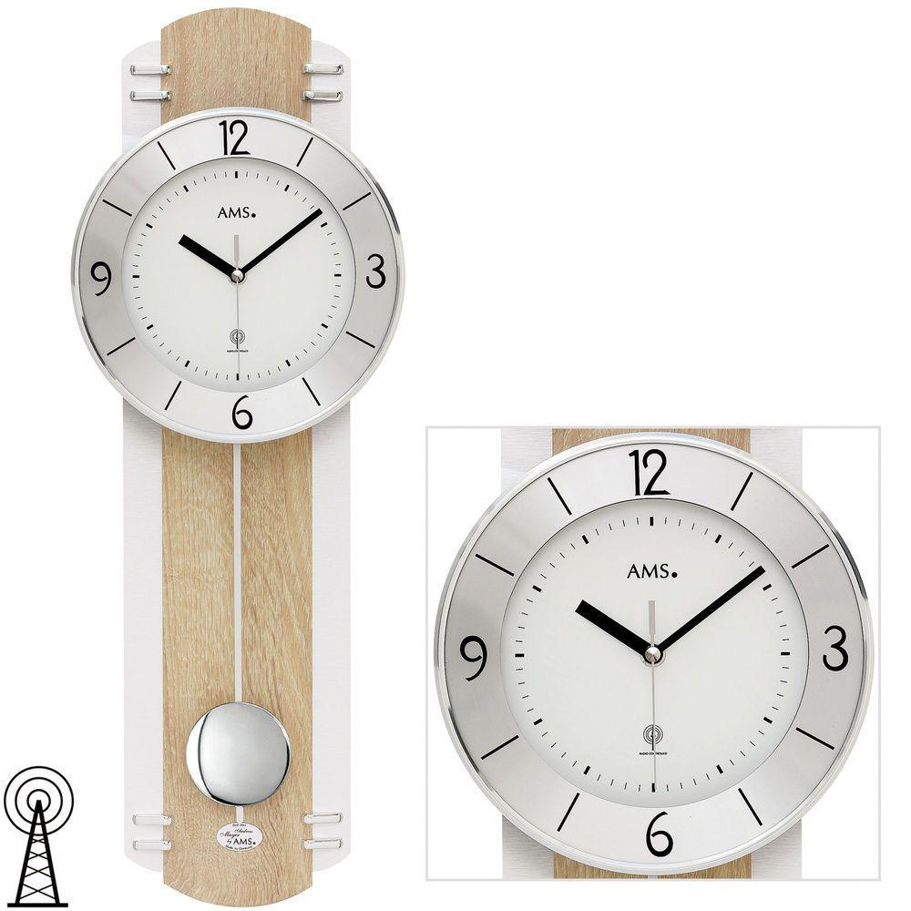Designové moderní hodiny kyvadlové rádiem řízené AMS 5291