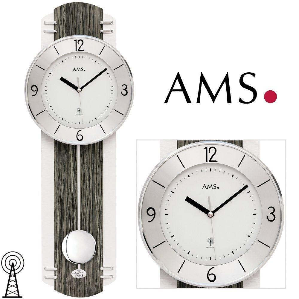 Moderní hodiny kyvadlové rádiem řízené AMS 5294 designové