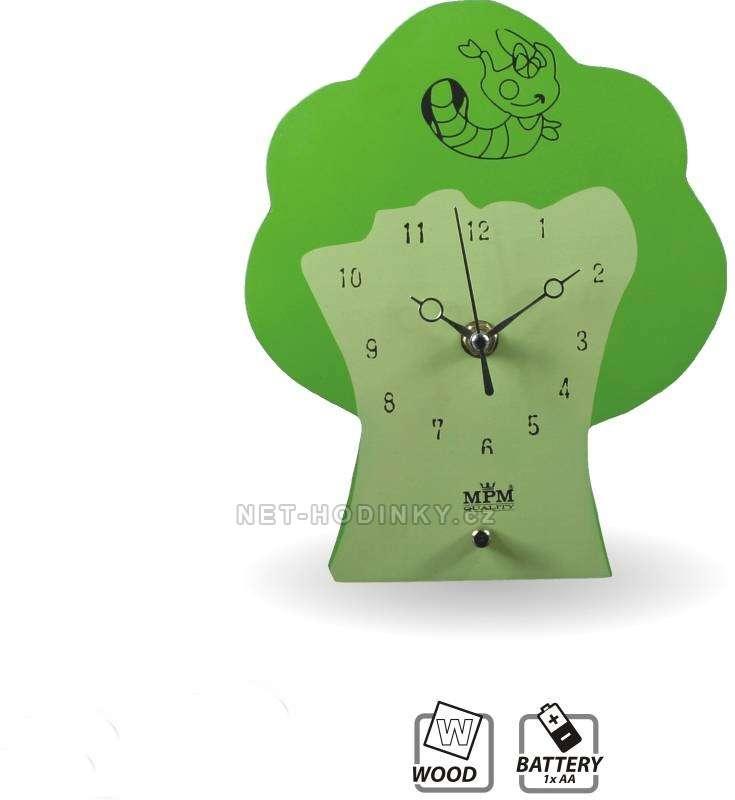 MPM Quality Dětské nástěnné hodiny dřevěné Strom QHA072.2