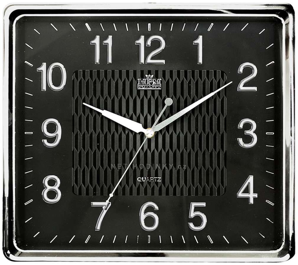 MPM Quality Hodiny plastové čtvercové hranaté E01.2929.1, hodiny na zeď E01.2929.7090.SW stříbrná/černá