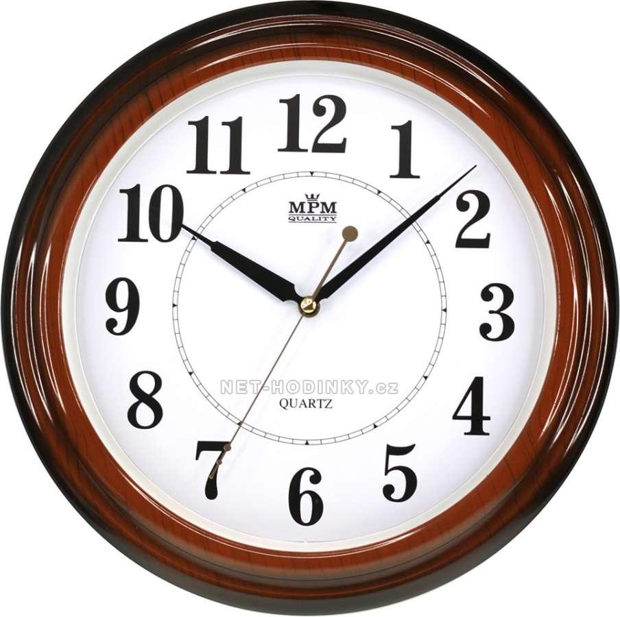 Nástěnné hodiny Hodiny plastové kulaté E01.2926.74 na zeď MPM Quality Nástěnné hodiny