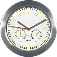 Kovové hodiny na zeď s teploměrem a vlhkoměrem MPM Quality