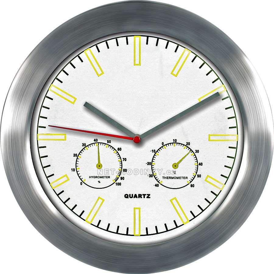 MPM Quality Kovové hodiny na zeď s teploměrem a vlhkoměrem M2411TH bílá