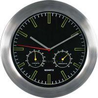 Nástěnné hodiny Kovové hodiny na zeď s teploměrem a vlhkoměrem MPM Quality Nástěnné hodiny