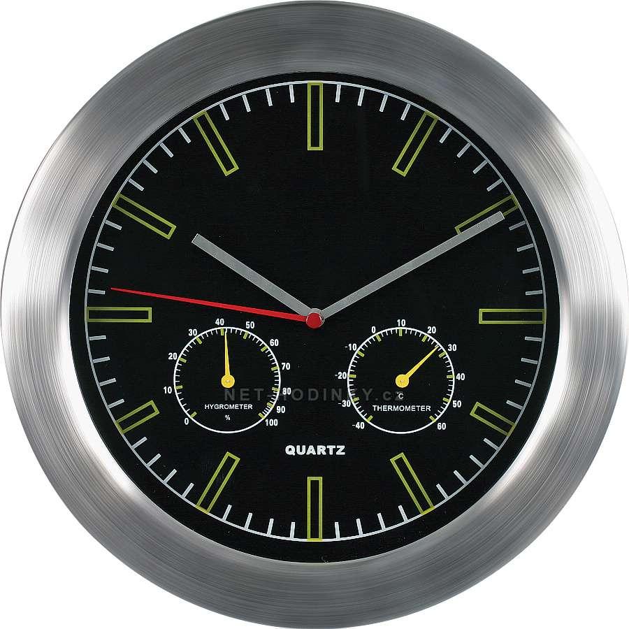 MPM Quality Kovové hodiny na zeď s teploměrem a vlhkoměrem M2411TH černá