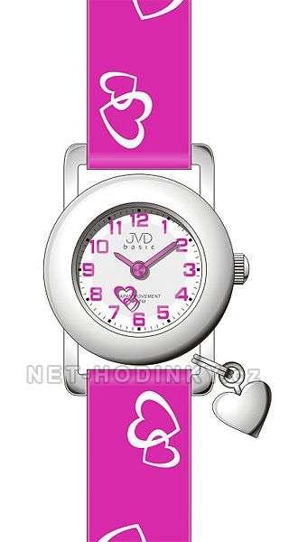 Náramkové dětské hodinky JVD basic J7025.4 bílá, dívčí hodinky s koženým páskem J7025.6.3