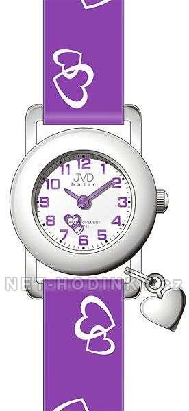 Náramkové dětské hodinky JVD basic J7025.4 bílá, dívčí hodinky s koženým páskem J7025.5.2