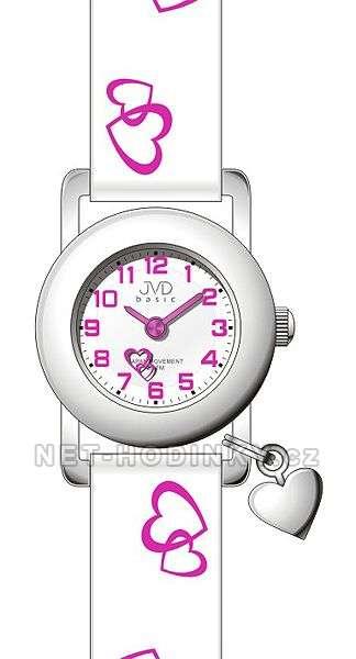 Náramkové dětské hodinky JVD basic J7025.4 bílá, dívčí hodinky s koženým páskem J7025.4.1