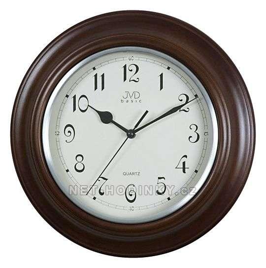 JVD Nástěnné hodiny na stěnu, nástěnné hodiny na zeď NS27043.23.2 tmavý dub