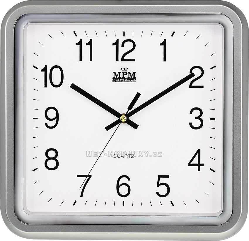 MPM Quality Plastové hodiny čtverec E01.2928.S, čtvercové, hranaté hodiny na zeď E01.2928.70.SW stříbrná