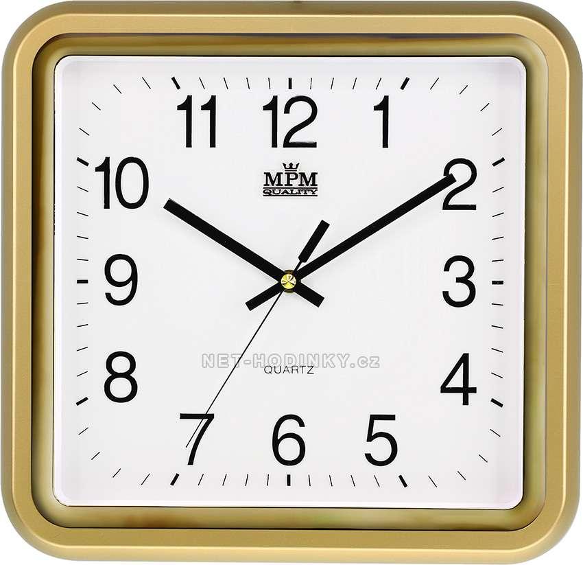 MPM Quality Plastové hodiny čtverec E01.2928.S, čtvercové, hranaté hodiny na zeď E01.2928.80.SW zlatá