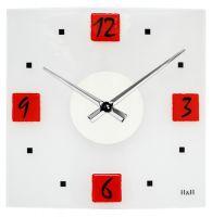 Moderní skleněné nástěnné hodiny na zeď čtvercové designové hodiny žlutá H&H