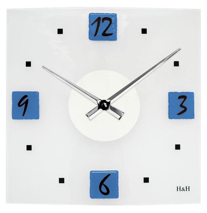 H&H Moderní skleněné nástěnné hodiny na zeď čtvercové designové hodiny žlutá modré hodiny