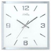 Skleněné čtvercové nástěnné hodiny s plynulým chodem AMS 9324