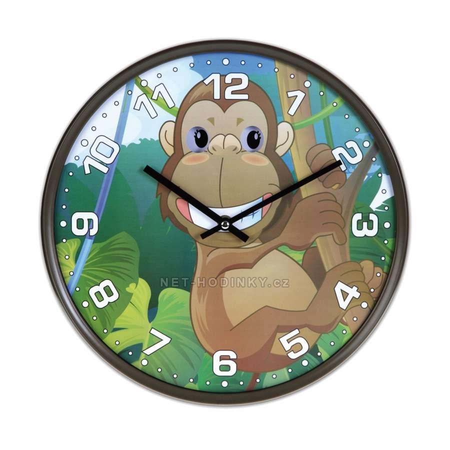 Disney Hodiny nástěnné dětské H9087A.2, hodiny na zeď motiv kočka, gorila, zebra, panda Hodiny gorila H9087A