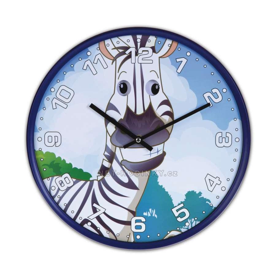 Disney Hodiny nástěnné dětské H9087A.2, hodiny na zeď motiv kočka, gorila, zebra, panda Hodiny zebra H9087B