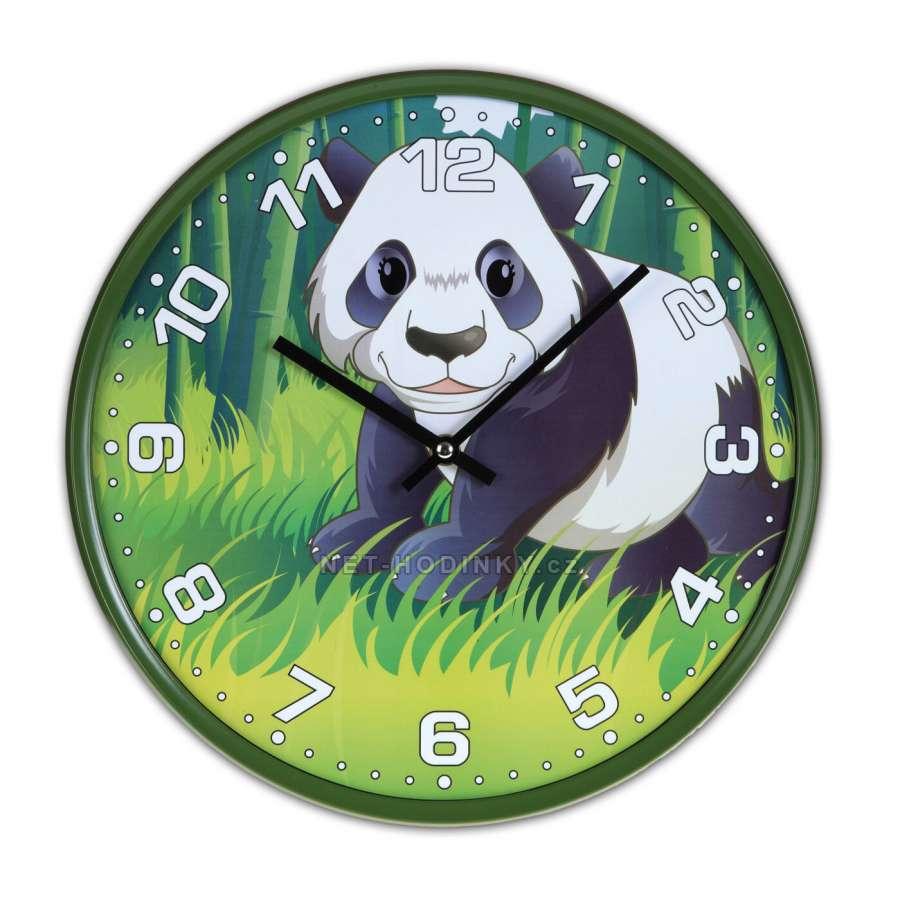 Disney Hodiny nástěnné dětské H9087A.2, hodiny na zeď motiv kočka, gorila, zebra, panda Hodiny motiv panda H9087D